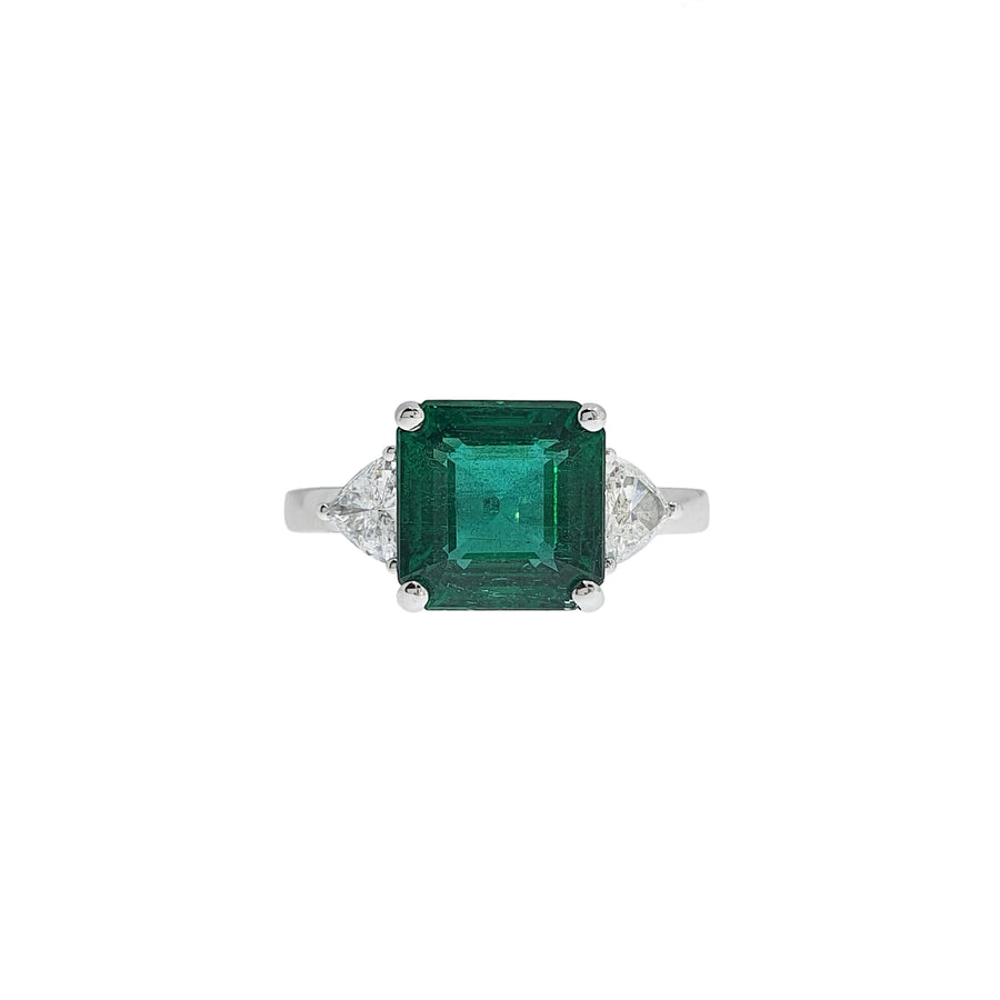 Emerald & Diamond Three Stone Ring