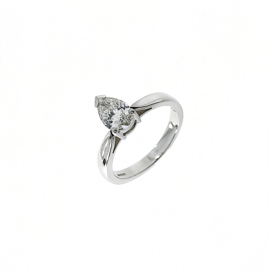 0.88ct Pear Cut Diamond Solitaire Ring