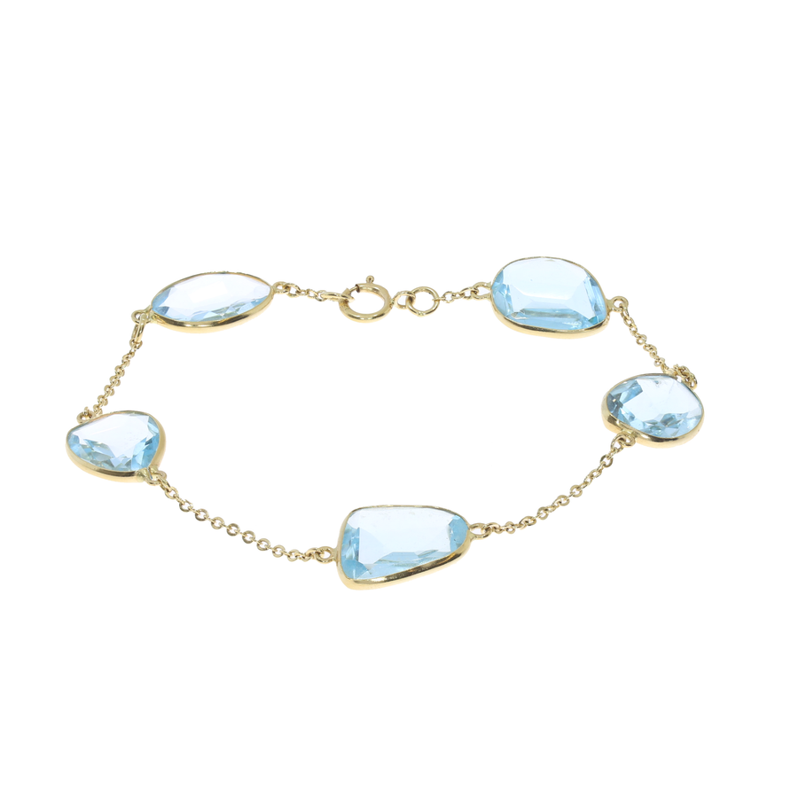 Blue Topaz Yellow Gold Bracelet