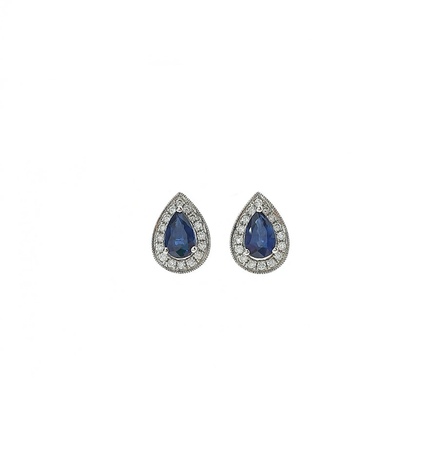 Sapphire & Diamond Pear Shaped Studs