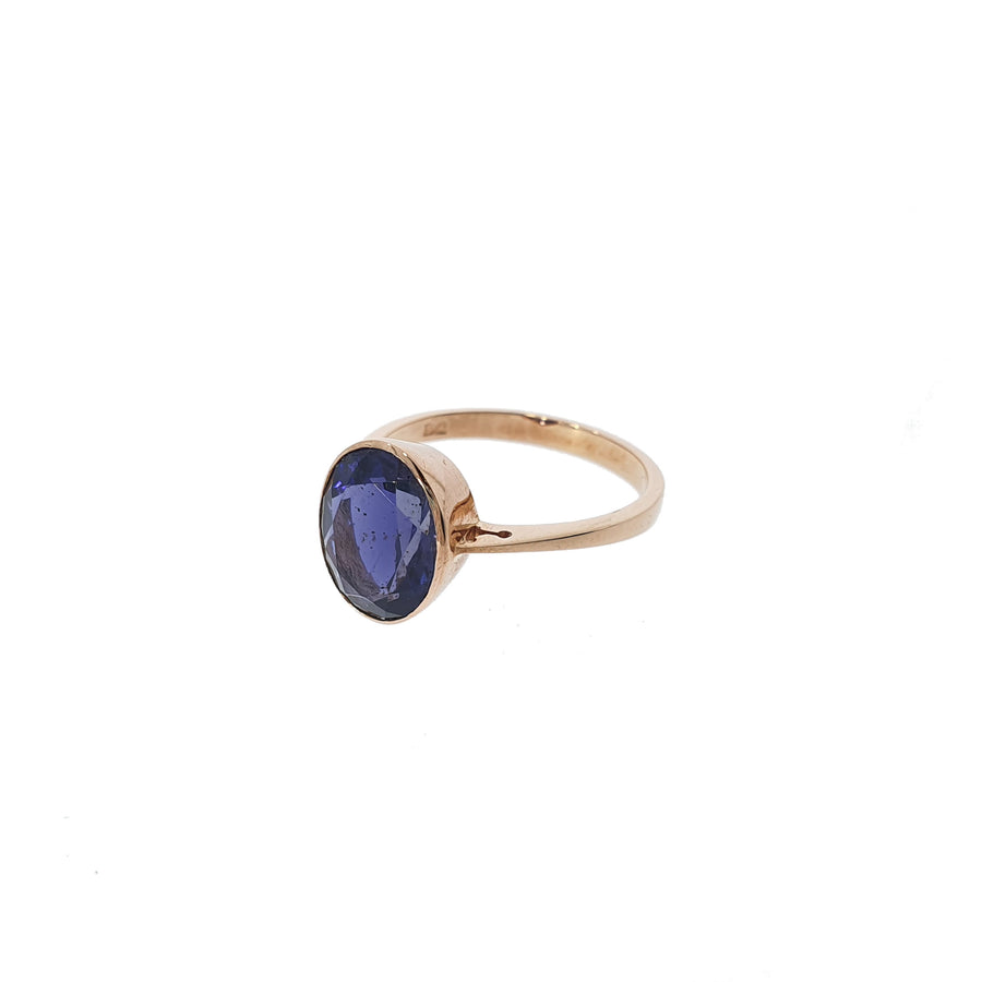 9ct Rose Gold Oval Rub-Over Set Iolite Ring.