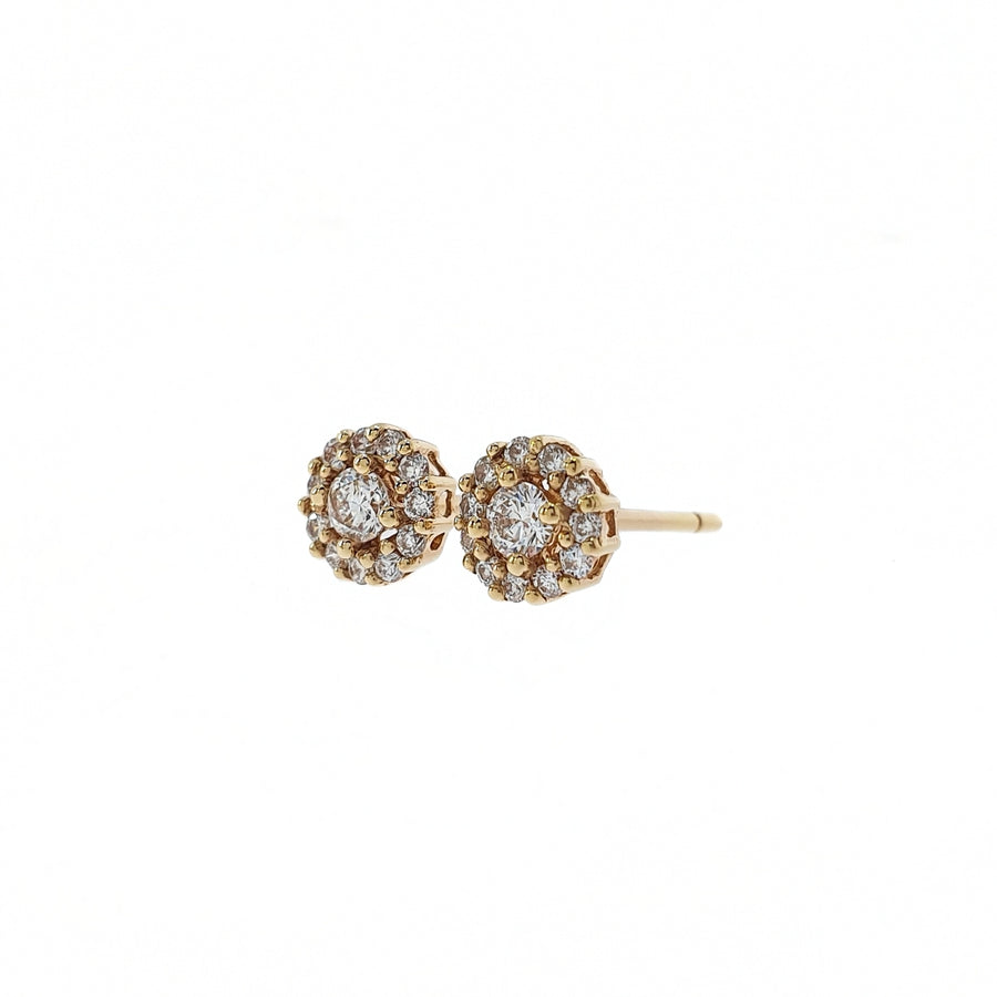 18ct Rose Gold Diamond Halo Stud Earrings, Diamond Weight 0.29cts.