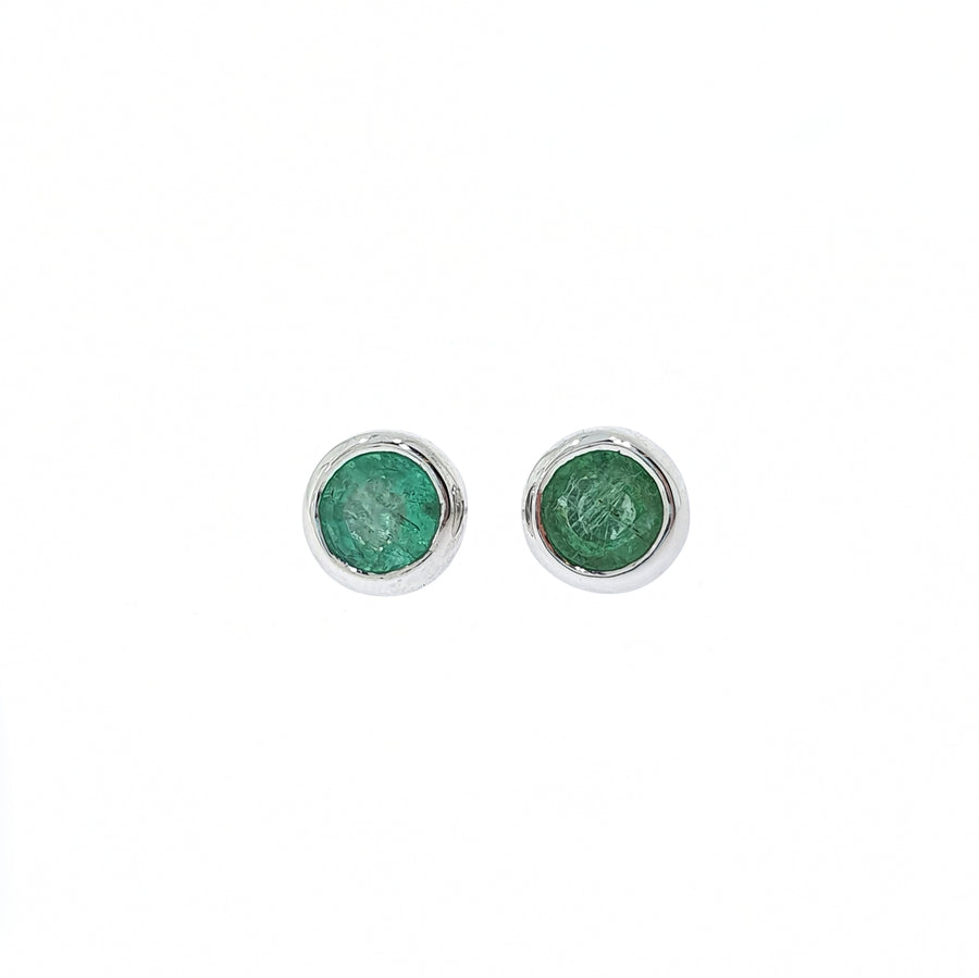 White Gold Emerald Earrings
