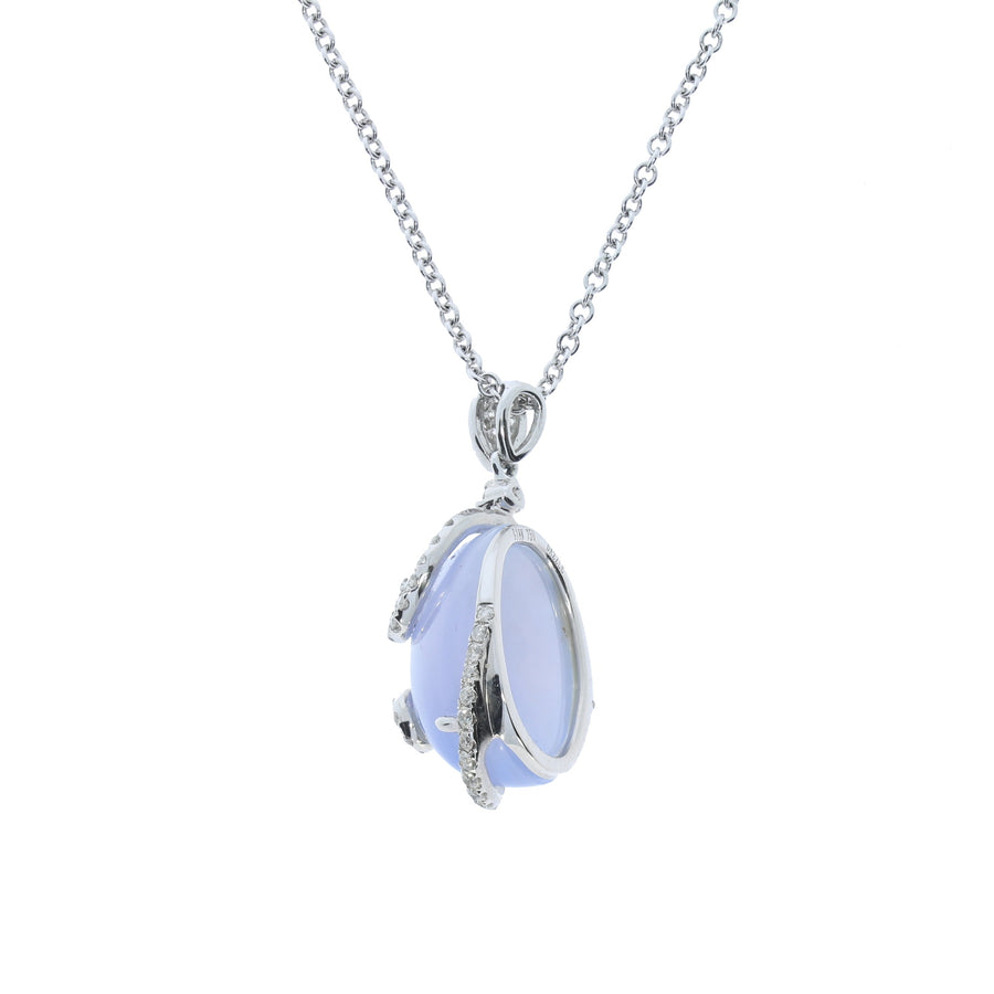 Blue Lace Chalcedony & Diamond Pendant