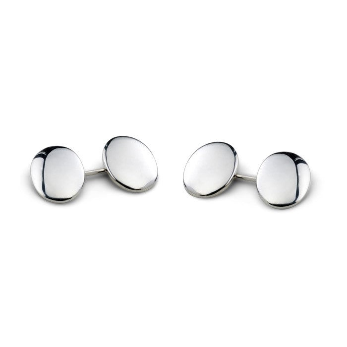 Sterling Silver Plain Domed Oval Cufflinks