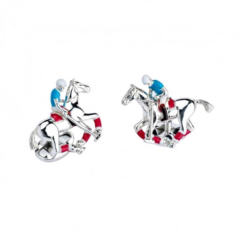 Sterling Silver Deakin & Francis Polo Cufflinks, Detailed With Blue, Red & White Enamel.