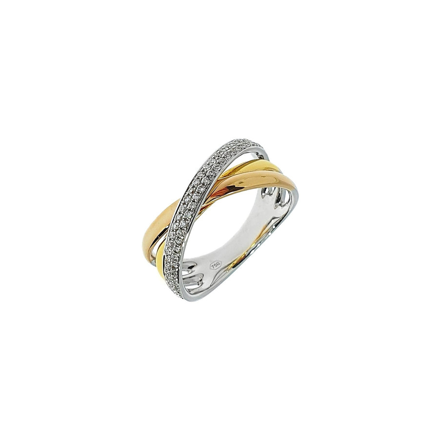 Tri-Colour Gold & Diamond Ring