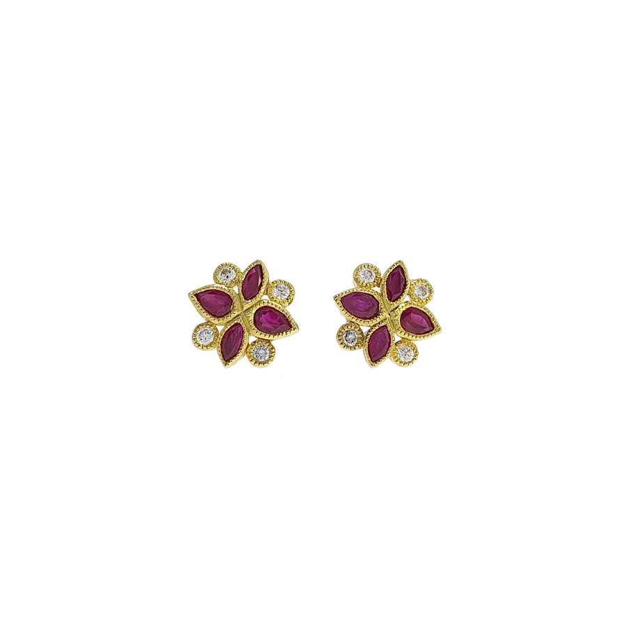 Ruby & Diamond Stud Earrings
