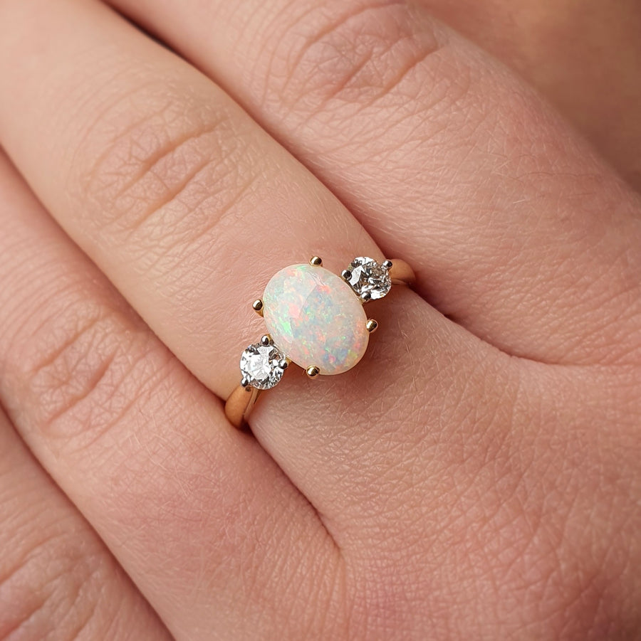 Opal & Diamond Three Stone Ring