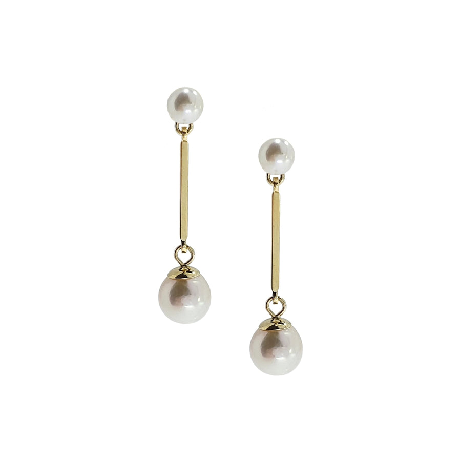 Cultured Pearl Bar Drop Earrings