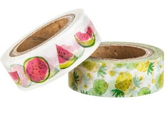 Fruit Watermelon And Pineapples Washi Tape Assortments - 2 Spools - 10Yds