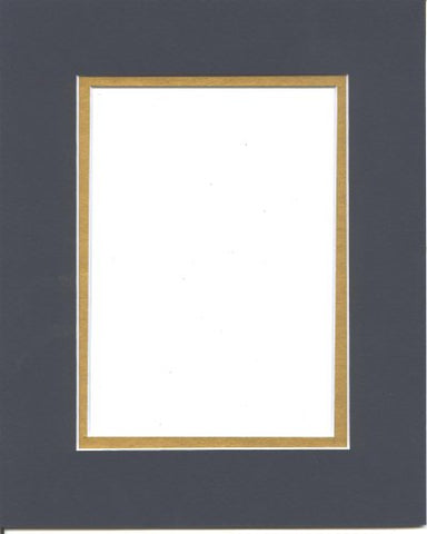 18X24 Navy Blue & Gold Double Picture Mat, Bevel Cut For 13X19 Picture Or Photo