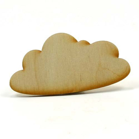 Mylittlewoodshop - Pkg Of 6 - Cloud - 3 Inches By 1 Inch And 1/8 Inch Thick Unfinished Wood(Lc-Clod01-6)
