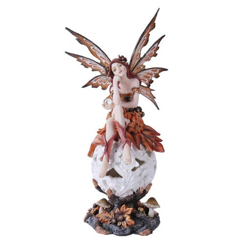Autumn Fairie Sitting On Changing Color Led Orb Meadow Mushroom Fairy Statue