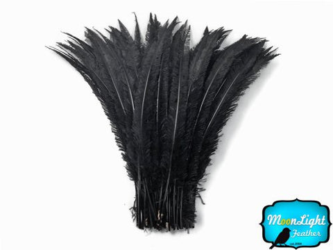 Black Ostrich Nandu Feathers 18-26  5 Pieces Of Ostrich Feathers