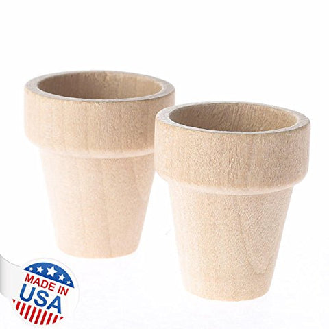 Factory Direct Craft Package Of 24 Unfinished Wood Miniature Flower Pots For Crafting, Creating And Embellishing