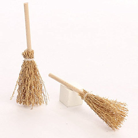 Factory Direct Craft Group Of 24 Miniature Artificial Straw Brooms With Wooden Handles For Miniature Creations, Crafting And Embellishing