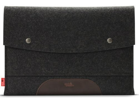 Pack & Smooch Macbook Pro 13  Retina Case Sleeve - 100 % Merino Wool Felt And Pure Vegetable Tanned Leather Dark Gray/Dark Brown Made In Germany