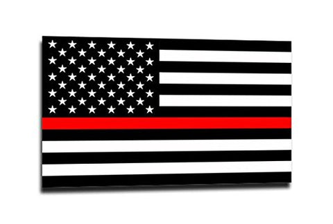 Thin Red Line American Flag Sticker - 4 X 6.5 Inches