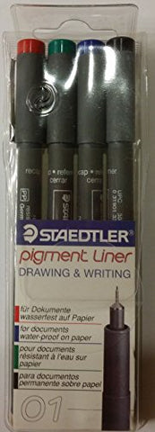 Staedtler Pigment Liner For Drawing & Writing Set Of 4 - Size 01 Waterproof Black, Red, Blue, Green