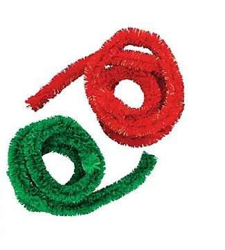 3 Packages Of Bright Red And Holiday Green Jumbo Chenille Stems For Crafting And Embellishing- 3 Of Each Color 6 Total Stems