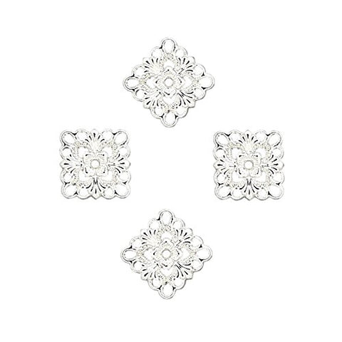 Square Diamond Link Connector Charm 20X20Mm Filigree Cut Out 10Pc Free Shipping (Silver Plated)