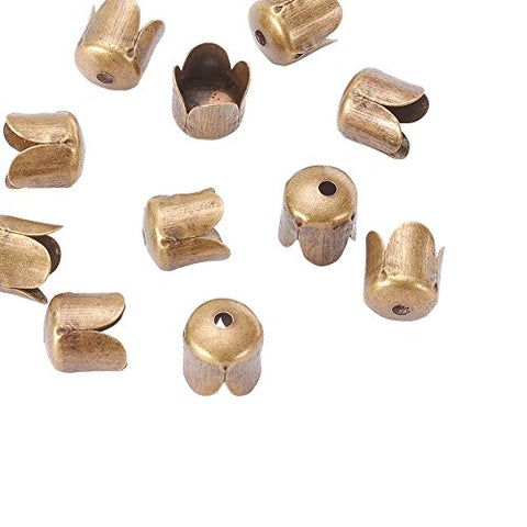 Beadthoven 100Pcs Antique Bronze Flower Iron Bead Caps, 4-Petal, Nickel Free, About 6.5Mm In Diameter, 7Mm High, Hole: 1Mm