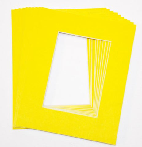 Yellow 11X14 Picture Mats Matting With White Core Bevel Cut For 8X10 Pictures