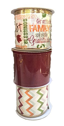 Sheer Burgundy Tri-Color Zig-Zag And Autumn Words And Leaves Bundle Of Three Fall Themed Ribbons