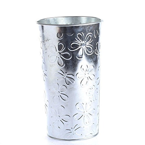 Factory Direct Craft Group Of 4 Floral Embossed Galvanized French Flower Bucket For Florals, Crafting And Creating