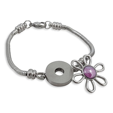 Charm Bracelet For Women, Fits European Bead Charms, Snap Button, 7.5 Inch