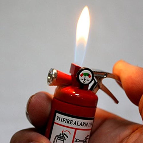 Small Led Flashlight Butane Cigar Lighter Fire Extinguisher Firefighter Fireman Gift Idea