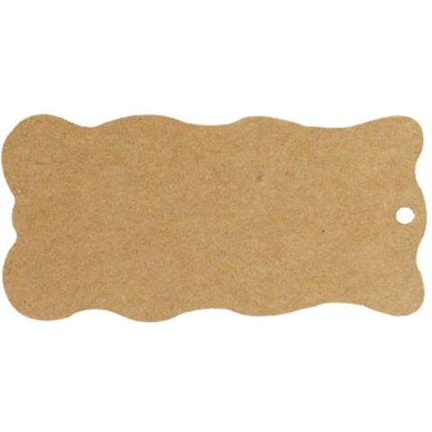 Wrapables 20 Gift Tags/Kraft Hang Tags With Free Cut Strings For Gifts/Crafts And Price Tags, Wavy Tag