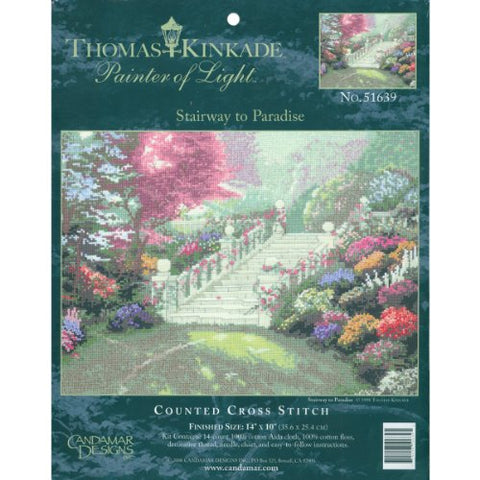 M C G Textiles 14 Count Thomas Kinkade Stairway To Paradise Counted Cross Stitch Kit, 14 By 10-Inch