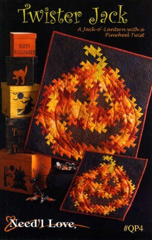 Twister Jack Quilt Pattern, A Jack-O-Lantern With A Pinwheel Twist, Halloween Wall Hanging Quilts