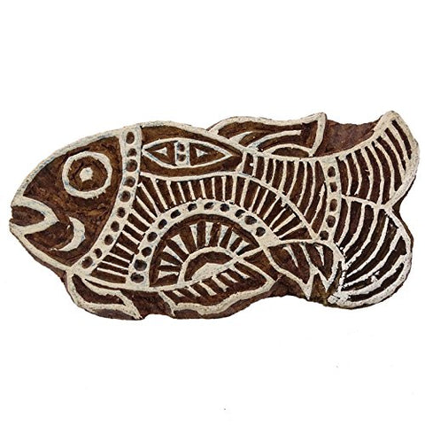 Wooden Decorative Indian Hand Carved Floral Printing Block Brown Wood Stamps