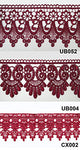Altotux 3  Burgundy Maroon Dark Red Embroidered Floral Scalloped Venice Lace Trim Victorian Guipure Sewing Supplies By Yard (Ub052)