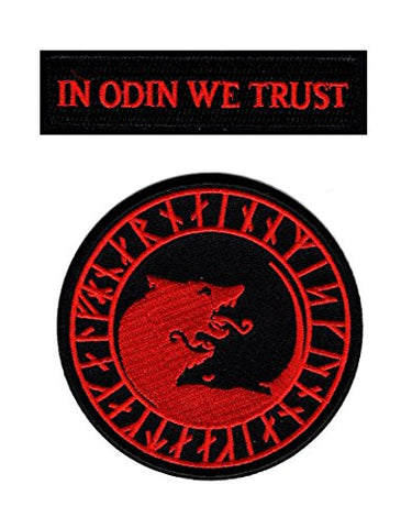 In Odin We Trust Viking Lfhdnar No Mercy Only Violence Wolf Odin God Patch (Iron On-Red/Blk)