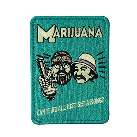 Novelty Iron On Patch - Cheech And Chong Can'T We All Just Get A Bong Applique