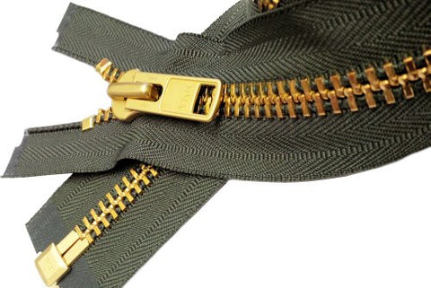Zipperstop Wholesale Authorized Distributor Ykksale 19  Extra Heavy Duty Jacket Zipper (Special Custom) Ykk #10 Brass Separating ~ Color 567 Olive Green (1 Zipper/Pack)
