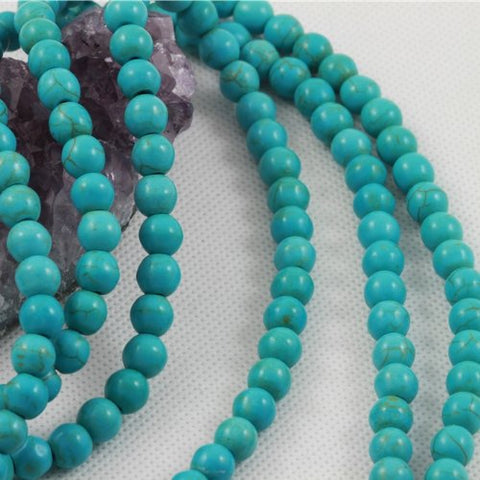 Howlite Turquoise Loose Beads Round 8Mm 16 Inch Strand Turquoise Green