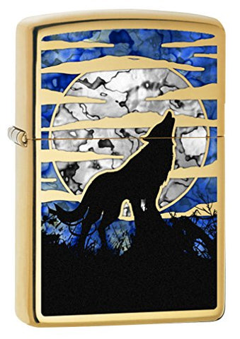Zippo Lighter: Fusion Wolf Howling At The Moon - High Polish Brass 78375
