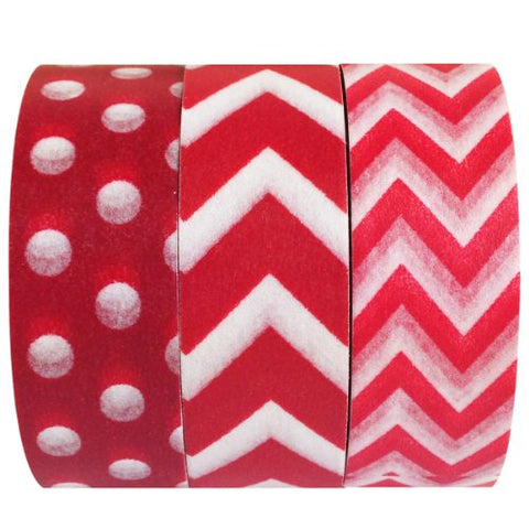 Wrapables Red Obsession Japanese Washi Masking Tape (Set Of 3), 10M L X 15Mm W