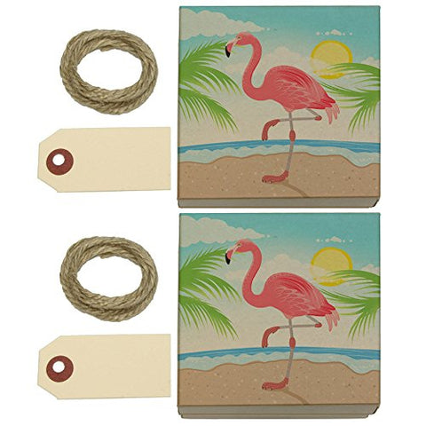 Flamingo And Palm Tree Beach Vacation Kraft Gift Boxes Set Of 2