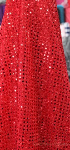 1 X Small Dot Confetti Sequin Fabric 45  Wide Sold By The Yard Red