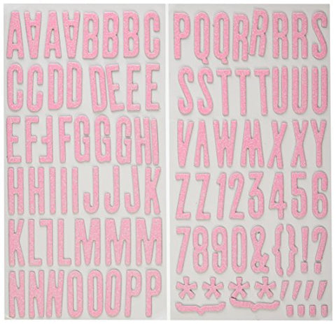 American Crafts Thickers Glitter Chipboard Letter Stickers, Shoe Box Bubblegum