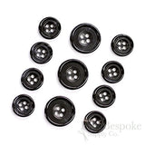 Set Of 11 Luxurious Black Genuine Horn Suit Buttons