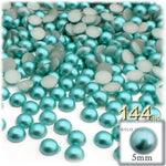 The Crafts Outlet 144-Piece Pearl Finish Half Dome Round Beads, 5Mm, Irish Blue Pearl