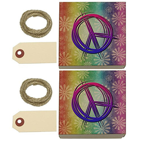 Hippie Peace Signs And Flowers Kraft Gift Boxes Set Of 2
