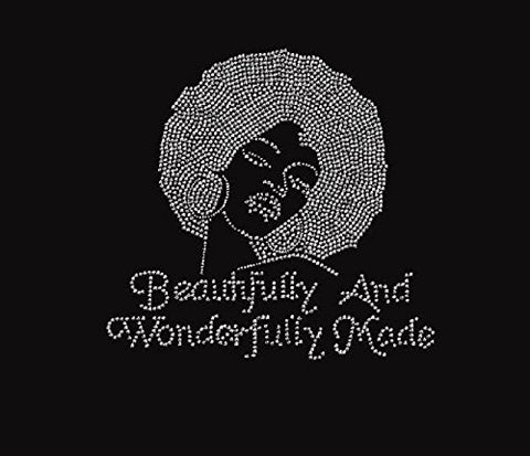 Beautifully And Wonderfully Made Afro Lady Rhinestone Iron On T Shirt Transfer